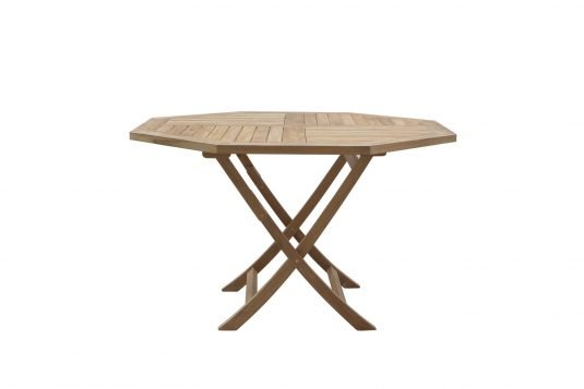 Picture of octagonal folding dining table from side