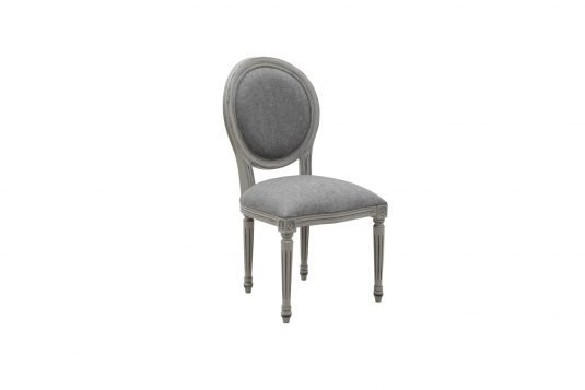 Picture of upholstered dining chair with gray wood finishing