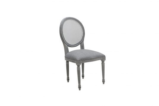 Picture of upholstered dining chair with dark gray