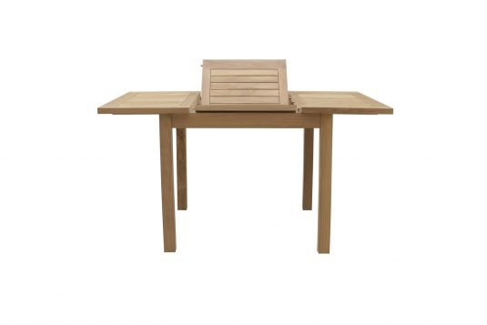 Picture of rectangular extendible dining table from front with fine sanded wood finishing