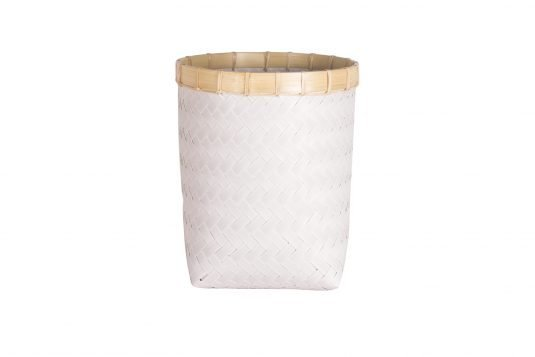 Picture of white weaved basket from front