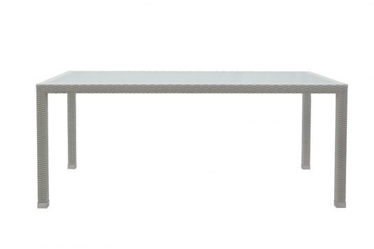 Picture of rectangular dining table with glass on top