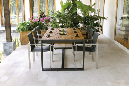 black Rectangular dining table otto and adamas chair stainless steel