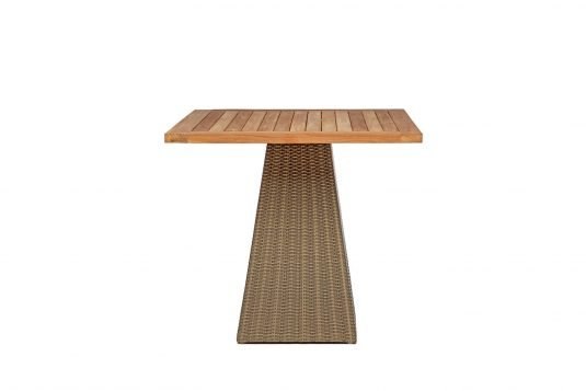 picture of square single leg dining table with teak and synthetic rattan