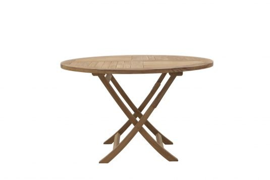 Picture of round folding dining table from side