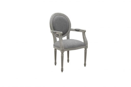 Picture of upholstered dining armchair from side