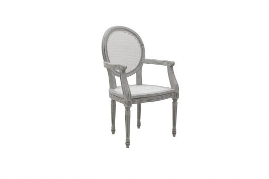 Picture of dining chair with natural rattan gray