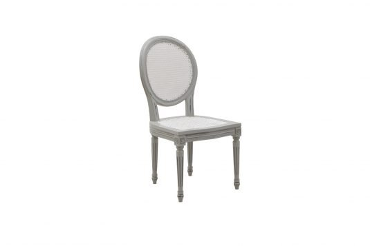 Picture of dining chair with gray wood finishing
