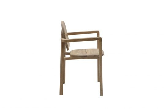 Picture of stackable dining armchair from side