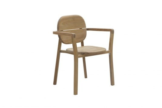 Picture of stackable dining armchair from front