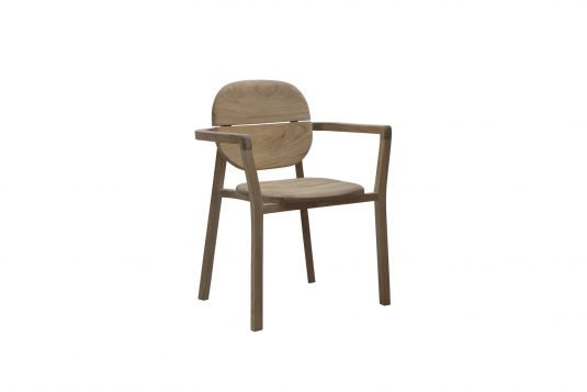 Picture of stackable dining armchair with fine sanded wood finishing