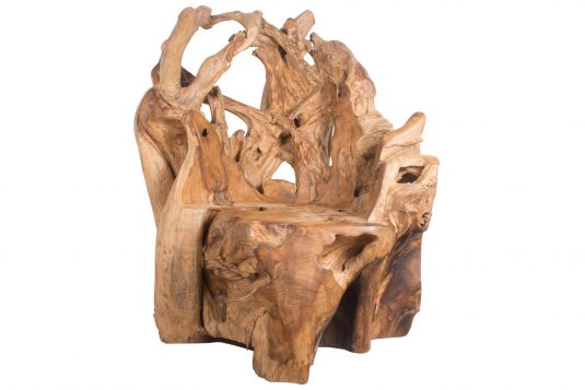 Picture of root chair with protective wood finishing