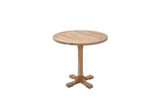 Picture of round single leg dining table from side
