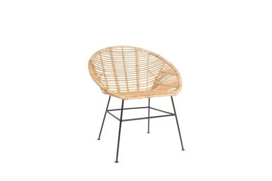 Picture of dining chair with natural rattan semi glossy finishing