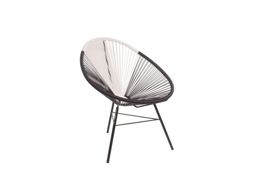 Picture of lounge chair with PVC tubing eggshell and black color