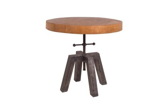 Picture of round side table with oiled wood finishing