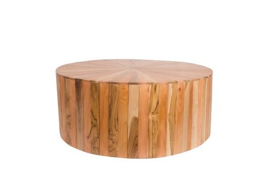 Picture of round coffee table with protective wood finishing