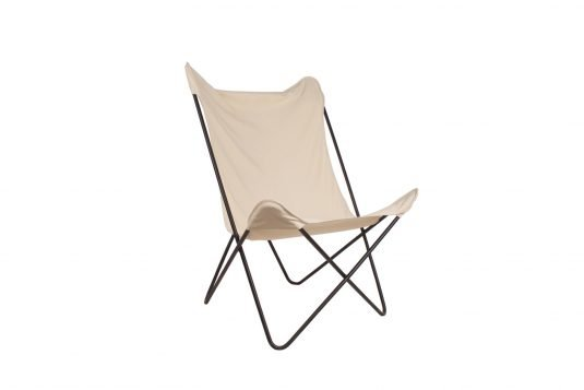 Picture of butterfly chair with natural fabrics from side