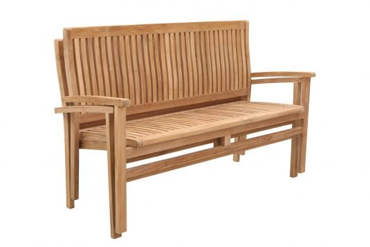 Picture of garden bench from side with fine sanded wood finishing
