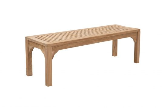 Picture of backless garden bench with fine sanded wood finishing from side
