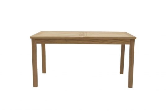 Picture of rectangular extendible dining table from front