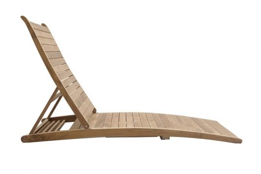 Picture of adjustable deckchair with leg rest with fine sanded wood finishing from side