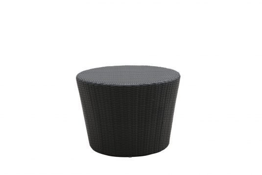 Picture of round side table with banana leaf rattan