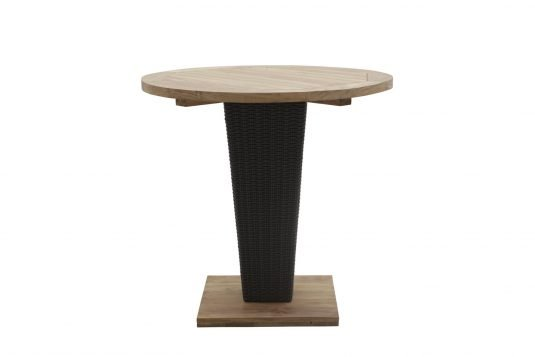 Picture of round single leg dining table from front
