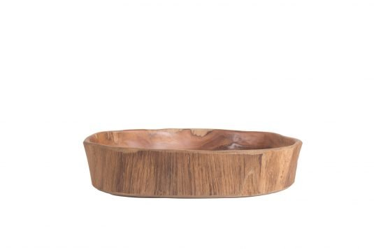 Picture of natural teakwood centerpiece with fine sanded wood finishing