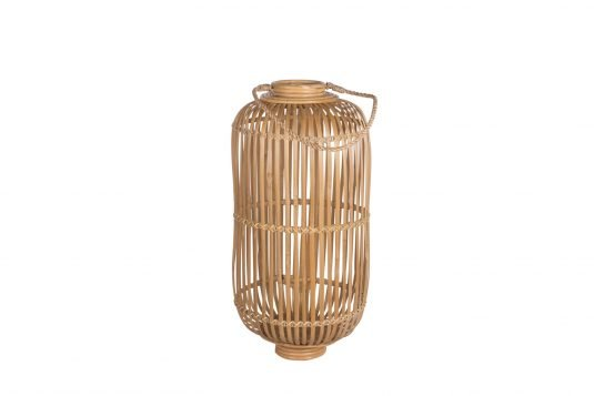 Picture of natural fibre lantern with natural rattan finishing