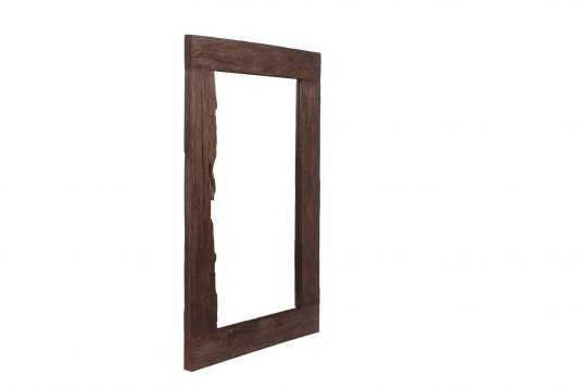 Picture of reclaimed wood rectangular frame mirror from side