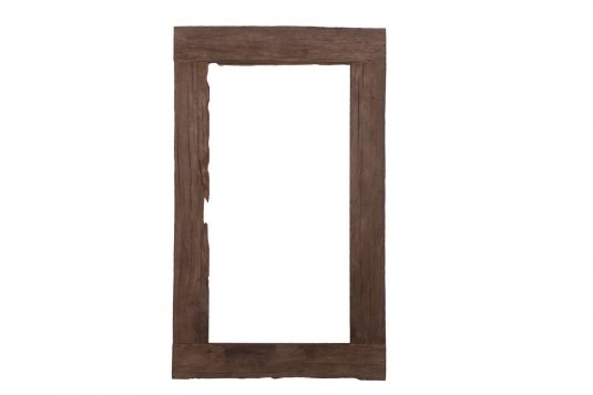 Picture of reclaimed wood rectangular frame mirror from front