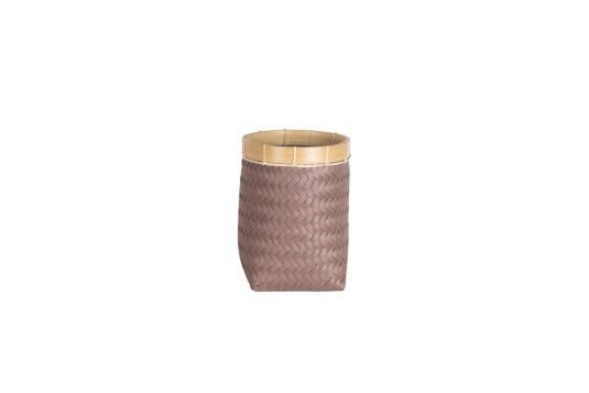 Picture of weaved basket with woven material in various colour