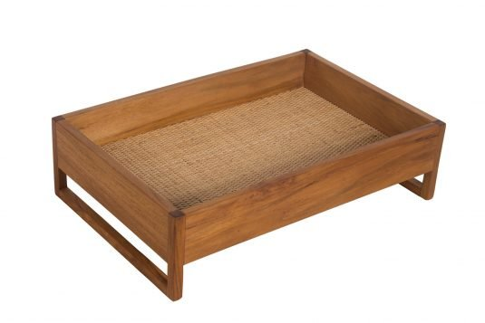 Picture of wooden tray with rattan from side