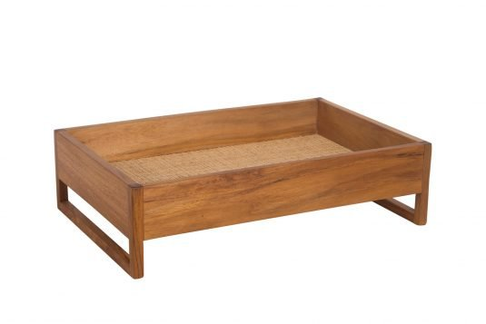 Picture of wooden tray with rattan
