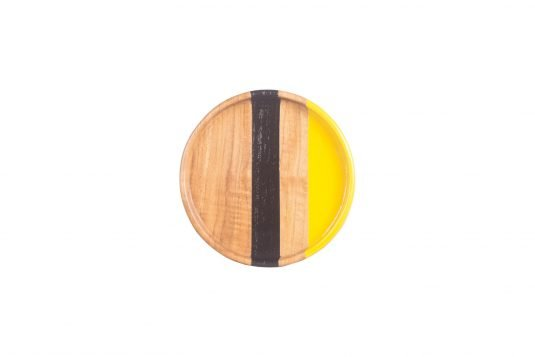 Picture of round teakwood tray small with combined wood finishing