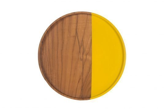 Picture of round teakwood tray large from front
