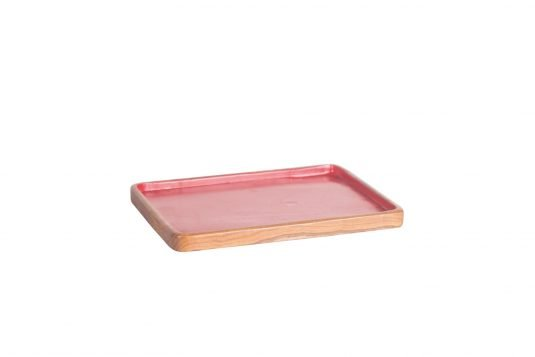 Picture of rectangular teakwood tray small from side