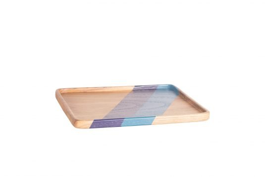 Picture of rectangular teakwood tray medium from side