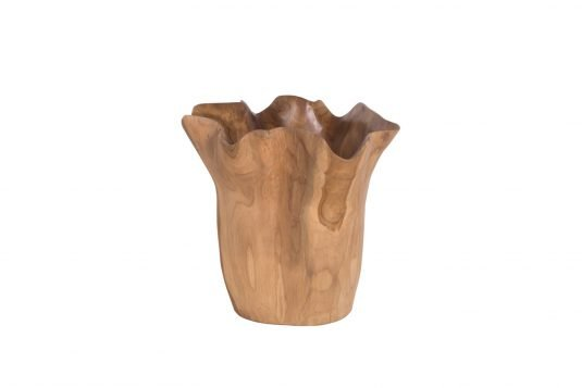 Picture of teakwood decorative vase with java brown and wax wood finishing