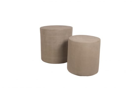 Picture of round cement stool with cement from side