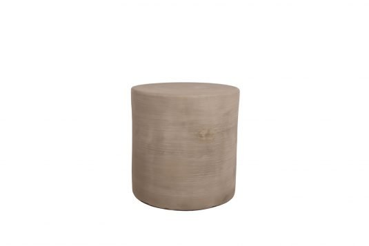 Picture of round cement stool with cement from front