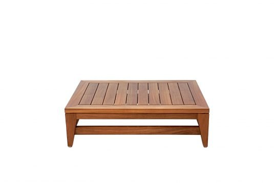 Picture of rectangular coffee table with fine sanded wood finishing from front