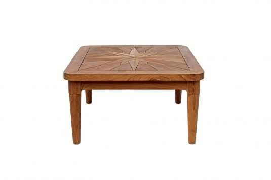 Picture of square side table from front with fine sanded wood finishing