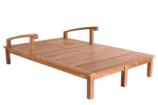 Picture of double sunlounger with wheels fine sanded wood finishing