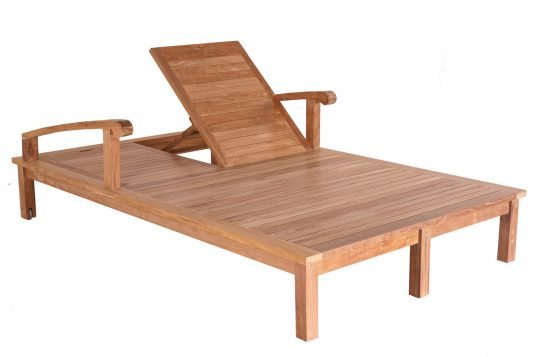 Picture of double sunlounger with fine sanded wood finishing