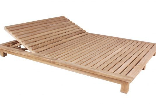 Picture of double sunlounger with wheels with fine sanded wood finishing