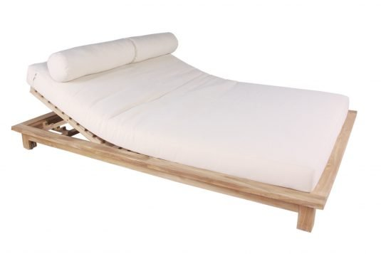 Picture of double sunlounger with wheels with pillow