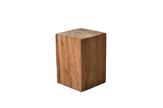 Picture of square side table / stool with oiled wood finishing from side