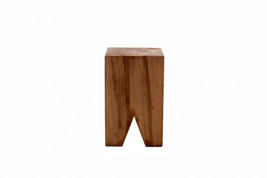 Picture of square side table / stool with oiled wood finishing